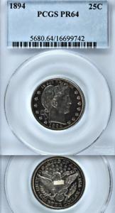 1894-PCGS-PR64-Low-972-Mintage-Smooth-Pretty-Proof-25C-Barber-Quarter