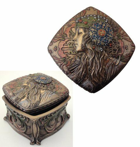 Art Nouveau Alphonse Mucha Jewelry Box Bronze Powder Cast New Free Shipping