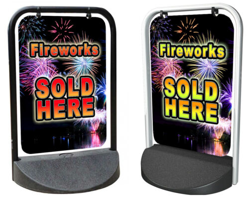 FIREWORKS SOLD HERE PAVEMENT SIGN Swinger ALUMINIUM Advertising DISPLAY