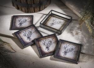 Clear Glass & Metal DEER & ANTLERS Coasters Set 4 w Holder by J Devlin Glass Art