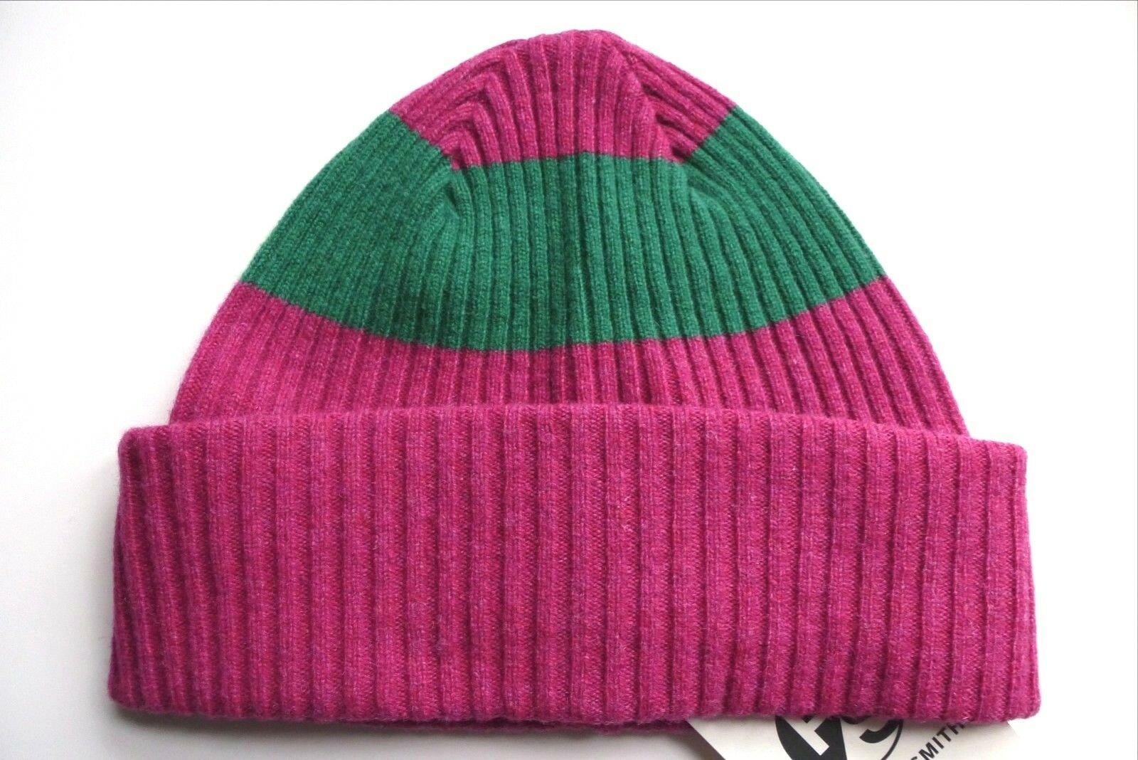 PAUL SMITH 100% Lambswool Deep Pink Green Cuff BEANIE Toque  Hat MADE IN SCOTLAND  fast shipping to you