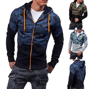 Herren-Camouflage-Kapuze-Hoodie-Sweatjacke-Jacken-Patchwork-Sweatshirt-Zip-Tops