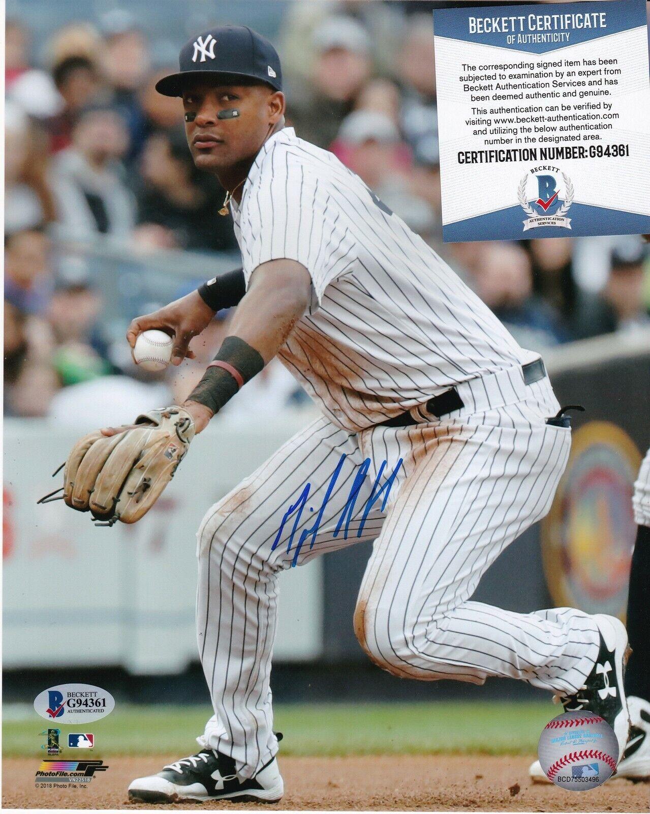 Miguel Andujar New York Yankees Beckett Authenticated Acción Firmado 8x10