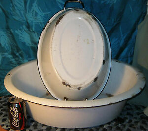 2 Antique Enamel Wash Basin Baby Bath X Large 21