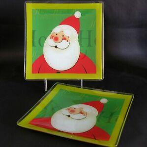 Christmas Santa Glass Serving Snack Plates Set of 2 Holiday Decor