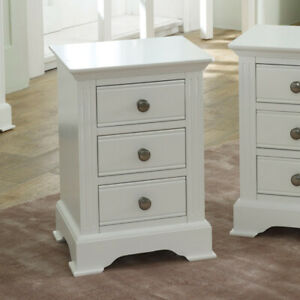 Détails sur Blanc Table De Chevet Armoire Table de chevet chambre à coucher  Meubles de rangement 3 tiroirs décor- afficher le titre d\'origine