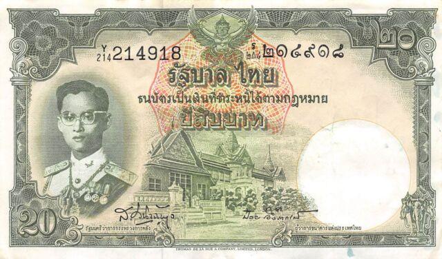 Thailand  20  Baht  ND. 1953  P 77d  Series Y/214  Sig. # 41 Circulated Banknote