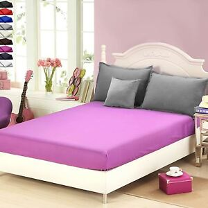 Image Is Loading DYED FITTED BED SHEETS POLYESTER PLAIN MATTRESS COVER