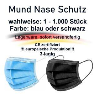 1 - 1000 Einweg 3-lagig Atem Nase Mund Schutz Maske Gesichtsmaske blau + schwarz