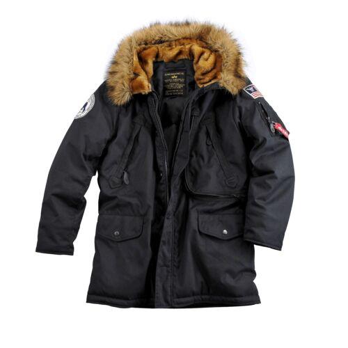 Alpha Industries polaire jacket Homme Parka Veste D/'hiver avec pelzkapuze noir une