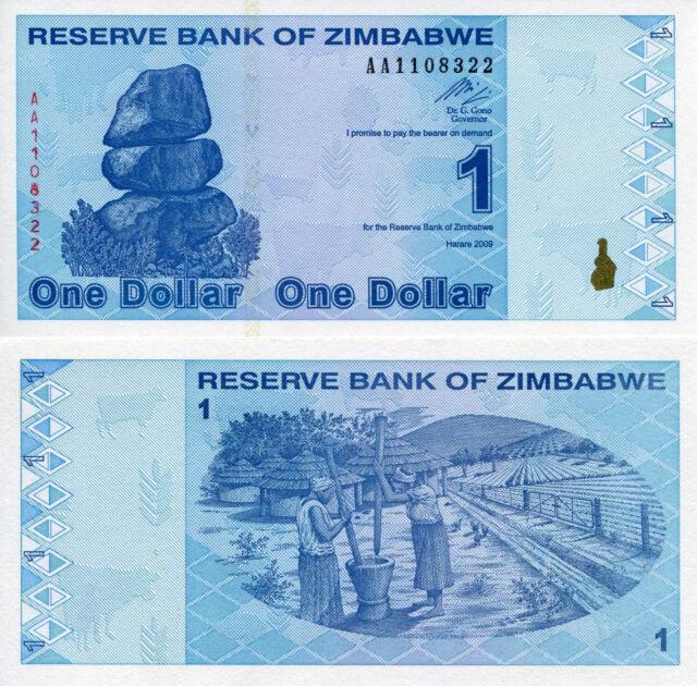 Zimbabwe 1 Dollar Banknote World Money Bill Note Africa Post 100 Trillion