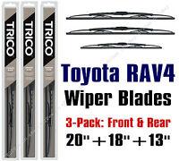 Toyota Rav4 1996-2000 Wiper Blades 3pk Standard Front + Rear 30200/30180/30130