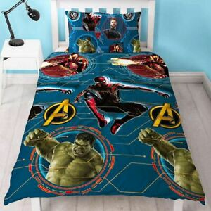 Marvel-Avengers-Force-Set-Housse-de-Couette-Simple-Reversible-Enfants-Literie