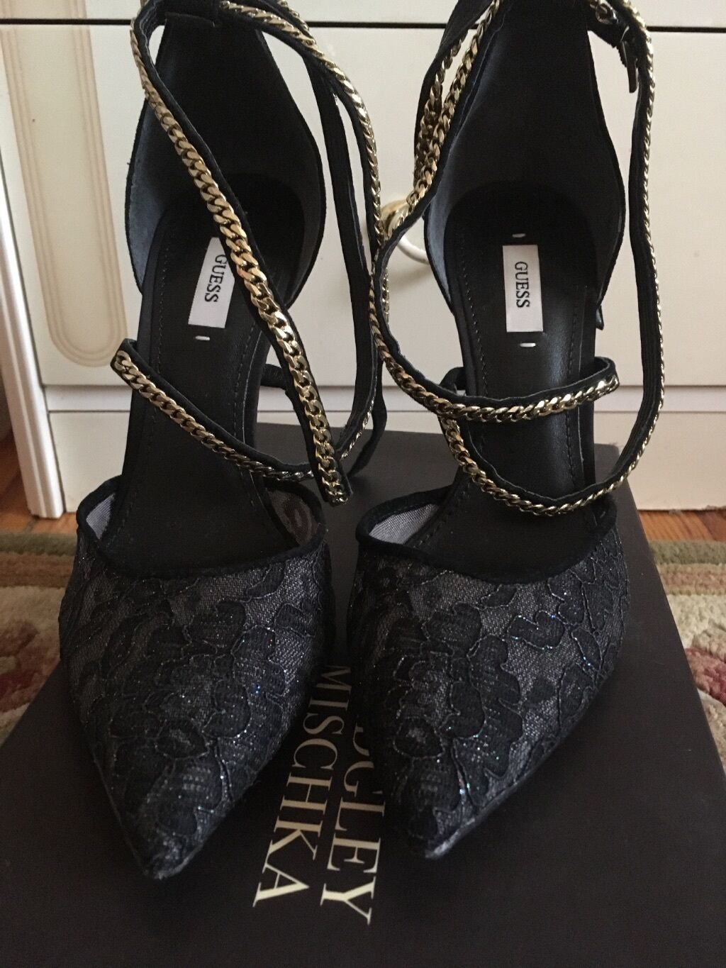 Lacr High heels Black and gold straps Size 9 1/2 GUESS