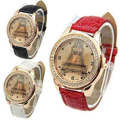 Fashion Women Crystal Girl Analog Eiffel Tower Quartz Leather Band Wrist Watch