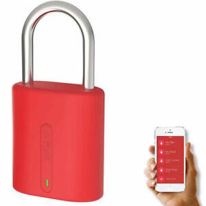 Dog and Bone LockSmart Mini Keyless Padlock Bluetooth Lock for Apple/Samsung Red