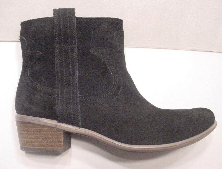 NEW Lucky Brand Suede Pull On Ankle Western Boot Black Womens Sz 7.5 -10