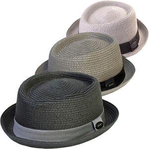 61a49d3ea77 Hat Round Crown Brim Summer Straw Retro Ska Mod Pork Pie Black Grey ...