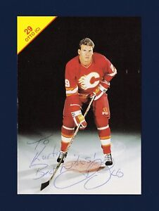 Joel Otto Signed Calgary Flames Vintage Team Issued Hockey Postcard Ebay