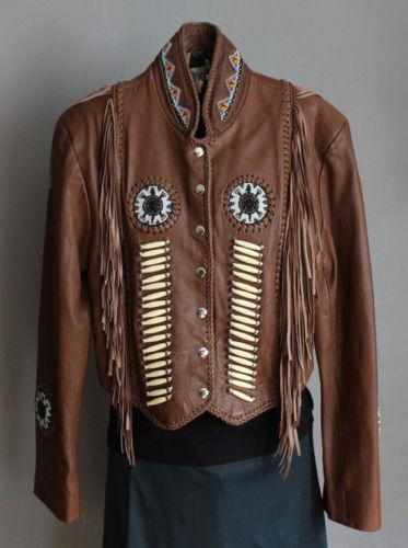 Señora Western llevar chaqueta de cuero vaca-dama fleco y  perlas cuero de vaca abrigo  bienvenido a elegir