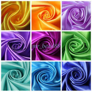 Silky-Satin-Fabric-Plain-Luxury-Dress-DIY-Material-150cm-Wide-sold-by-Metre-New