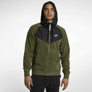 Details about Mens Nike NSW Full Zip Polar Fleece Hoodie 929114 395 Olive Green NEW Size M