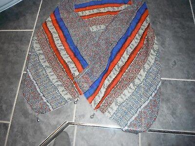 (a) Mai Indossato Wrap/sciarpa Con Tono Argento Gocce. Arancione/blu.-mostra Il Titolo Originale
