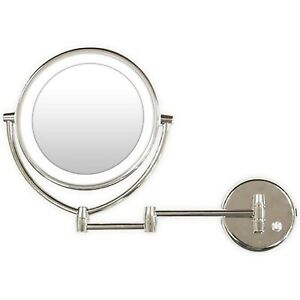 Rucci Wall Mounted L E D Lighted Makeup Mirror 7x 1x Mag Chrome M950 Ebay