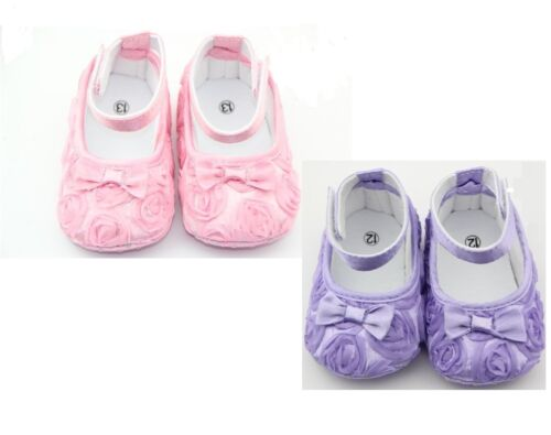 Baby Girls Mary Jane Soft Sole floral rosette and bow detail size euro 16,18,20