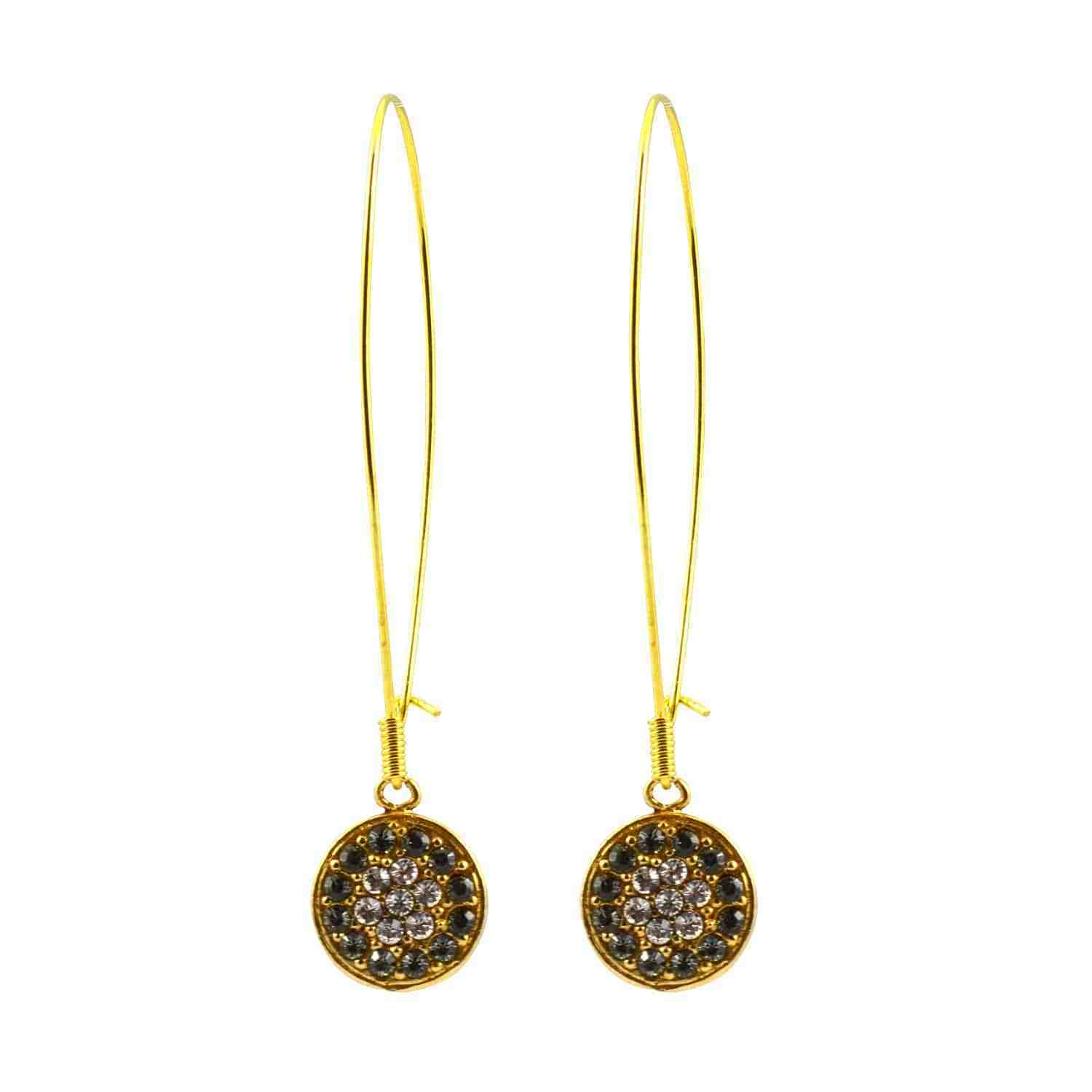 La Vie Parisienne gold Plated Round Dangle Earrings w Swarovski Crystal