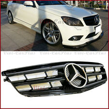 For 08-14 M-Benz W204 C300 C350 C250 Sedan Gloss Black 3 Fins Front Hood Grille