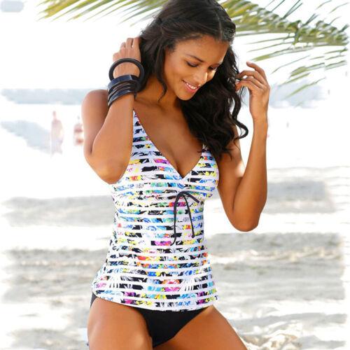 Women Padded Tankini Set with Boy Shorts Beach Swimming Costume Push Up Swimwear