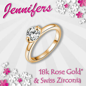 Image Is Loading Rose Gold Ring 18c Women Girl Zircon Crystal