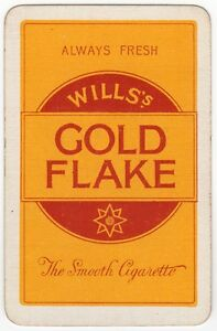 Playing-Cards-1-Swap-Card-Old-Vintage-Wills-GOLD-FLAKE-Smooth-Cigarettes-SMOKING