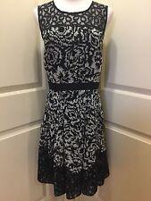 ANN TAYLOR Sz 10 Lightweight Black Floral Lace Lined Chiffon Victorian Dress