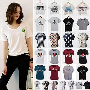 Mujer-Camiseta-Manga-Corta-Verano-Cuello-Redondo-Holgado-Informal-Sueter-blusa