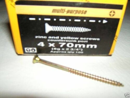 1 box x 4x60mm WOOD SCREWS ZINC YELLOW MULTI-PURPOSE PZ2 POZI2 NEW 8gx2½ 200
