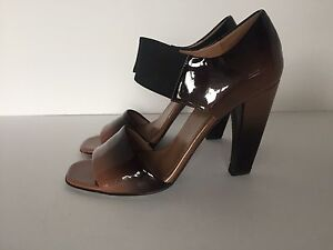 0a35f4b44350a Image is loading Prada-Brown-Ombre-Patent-Leather-Sandals-Size-36-
