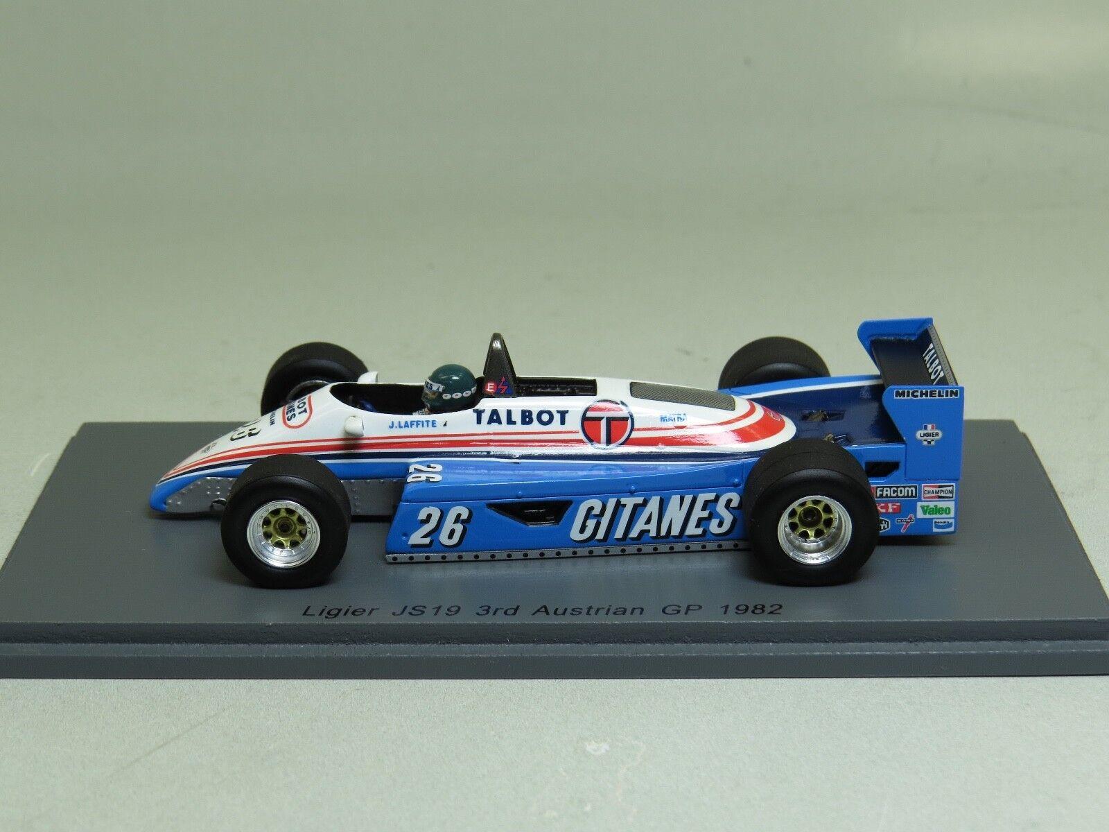 Ligier JS19 3rd Austrian GP 1982 Jacques Laffite Spark S4264 GITANES 1 43