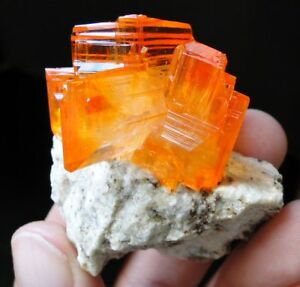 TOP-Luster-Tangerine-Orange-ARCANITE-on-MATRIX-from-POLAND-Like-Wulfenite