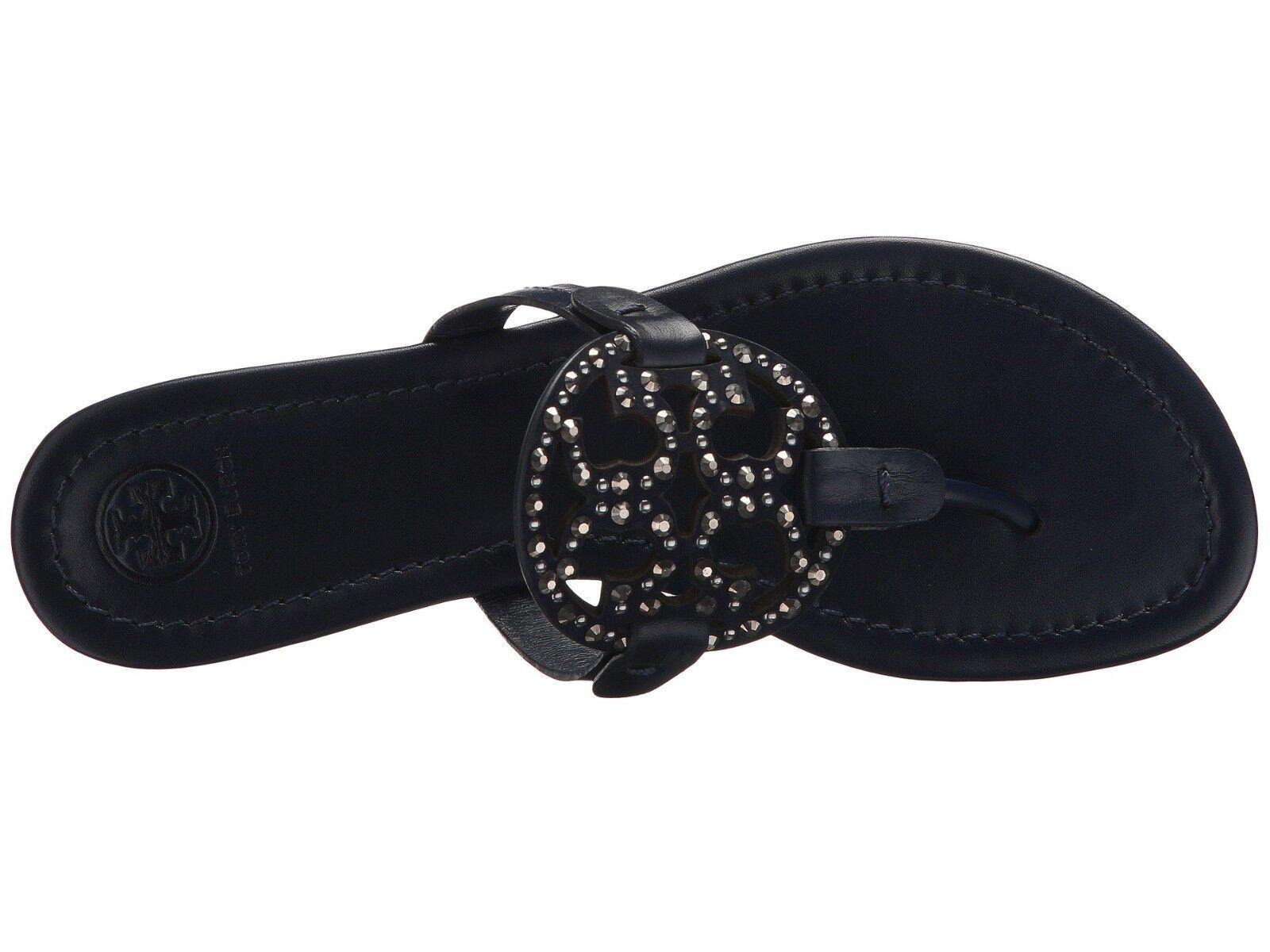 NIB Tory Burch Miller Embellished Sandals Shoes ROYAL NAVY 12 M