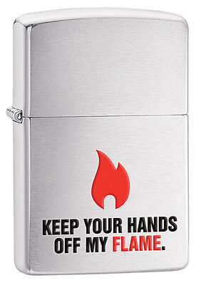 Zippo Brushed Chrome Off My Flame Windproof Lighter 28649 New