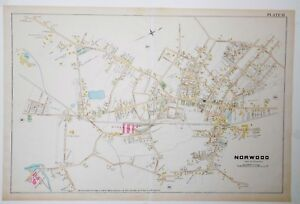 Original 1888 Norwood Town Map Plate 33 M MA Old Machusetts ... on
