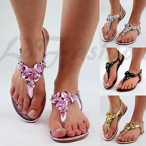 Nouveau-Femme-Sandales-Plates-Toe-Post-Sangle-De-Cheville-Fleur-ornee-Shoes-tailles