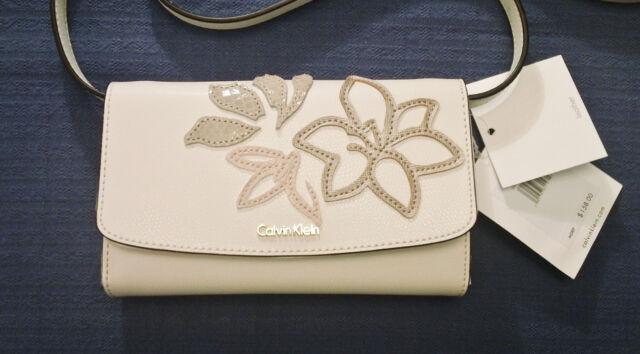 9d4ca7272 Calvin Klein Logan White Leather Mini Crossbody Bag Phone Holder. NEW with  tag.