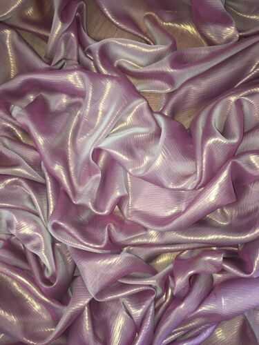 "147cm 1 mtr lilac//gold shimmer chiffon fabric..58"" wide"