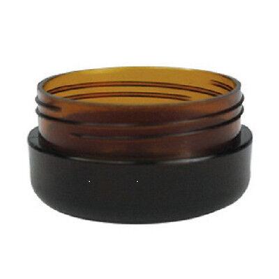 100x 10g Amber Plastic Lip Balm Small Sample Cosmetic Jars Container + Black Cap