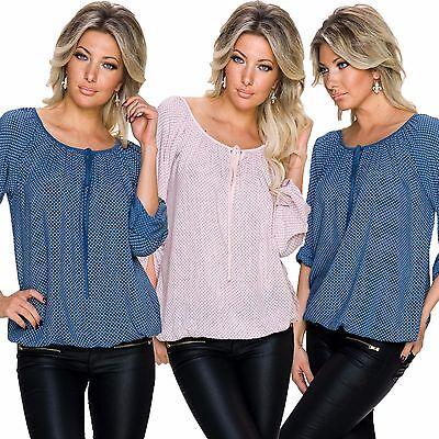 Damen Bluse Tunika Shirt Top 3/4 Ärmel Ballon Optik locker sitzend S M 34 36 38