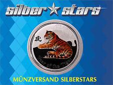 1 OZ 999 Silber Lunar II 2010 - Jahr des Tiger  Farbe / Color