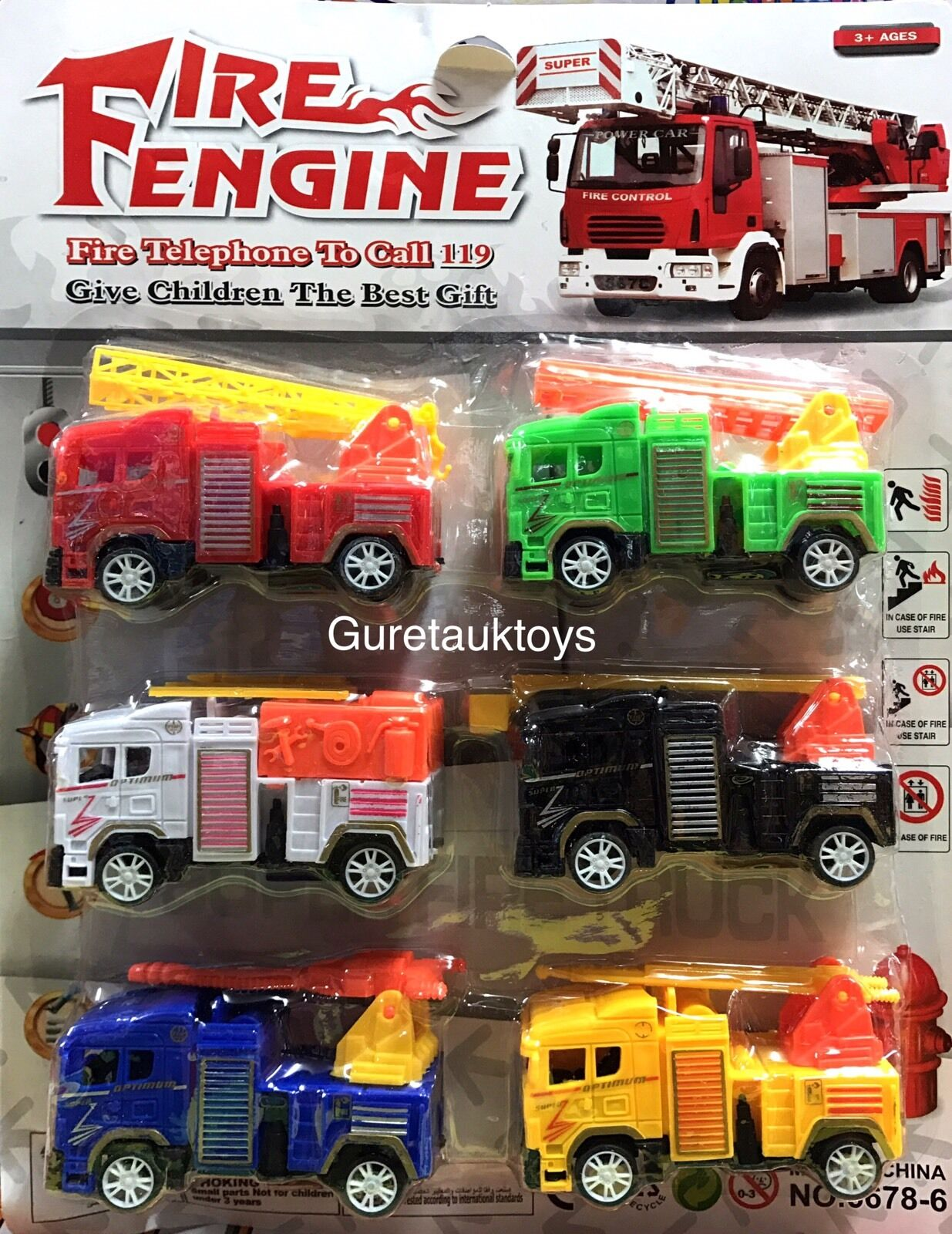 Fire Engine 6 Pcs Different Colour Toy Set Give Kids The Best Gift